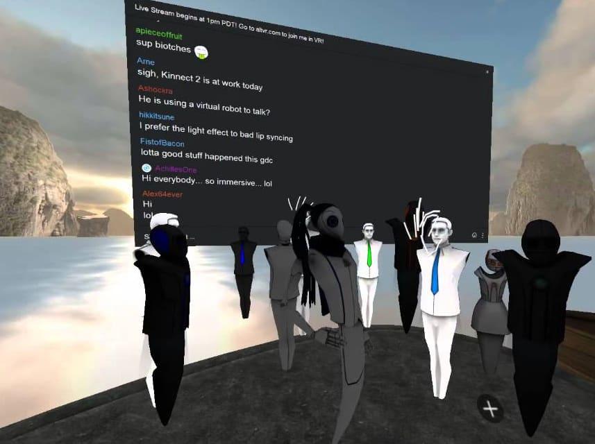 AltspaceVR salon écran avatars