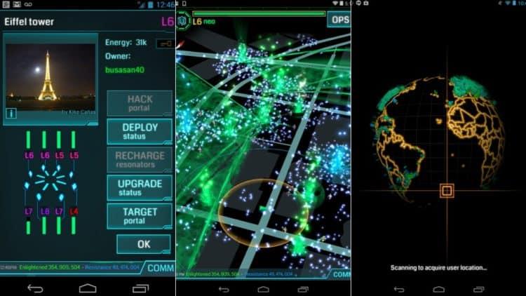 Capture d'écran du jeu en réalité augmentée Ingress