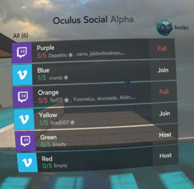Oculus Social Alpha roomselection Oculus Rift