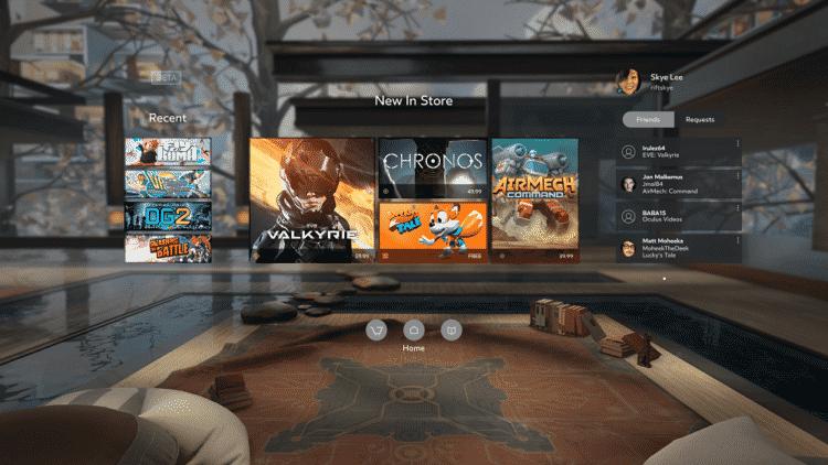 Menu de l'Oculus Rift l'Oculus Home