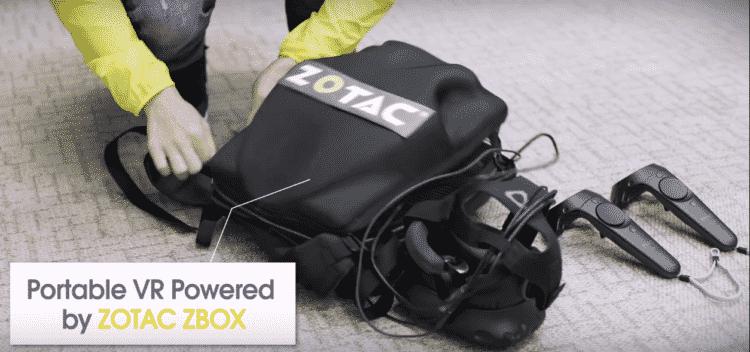 Le sac à dos de Zotac pour la réalité virtuelle avec le HTC Vive
