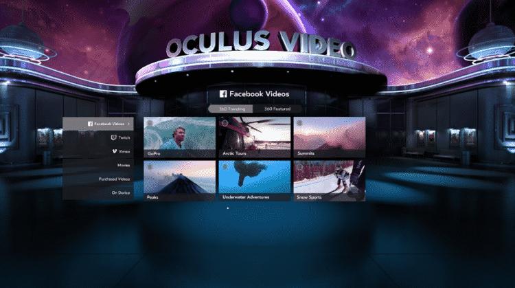 Lobby oculus viddéo pour Films oculus Rift