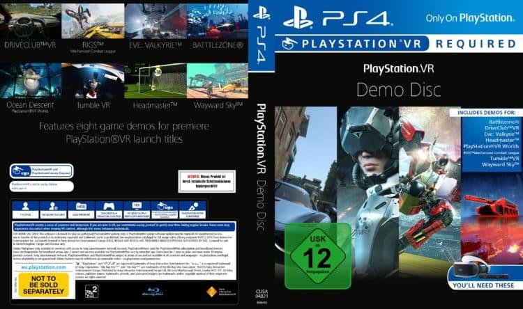Démos PS VR PlayStation VR Disque jeux jaquette