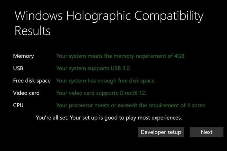 Configuration minimale PC Microsoft réalité virtuelle