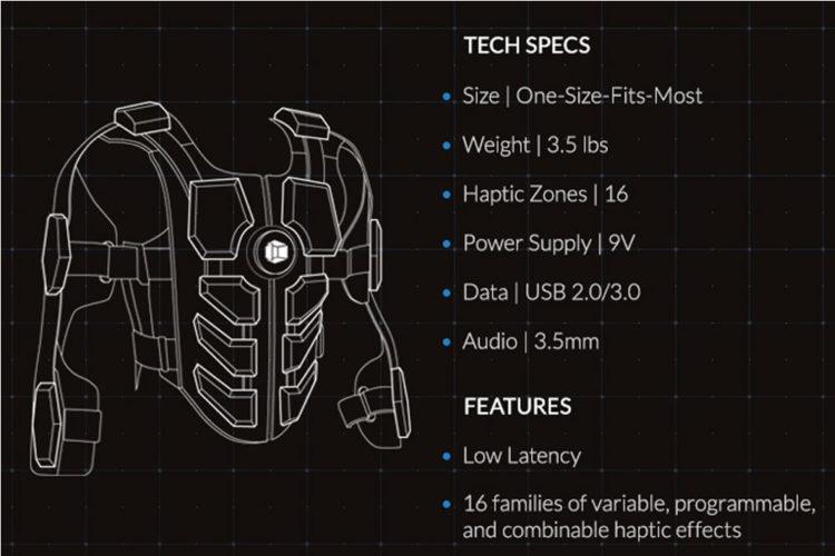 Hardlight VR Suite veste haptique réalité virtuelle ressentir coup touché