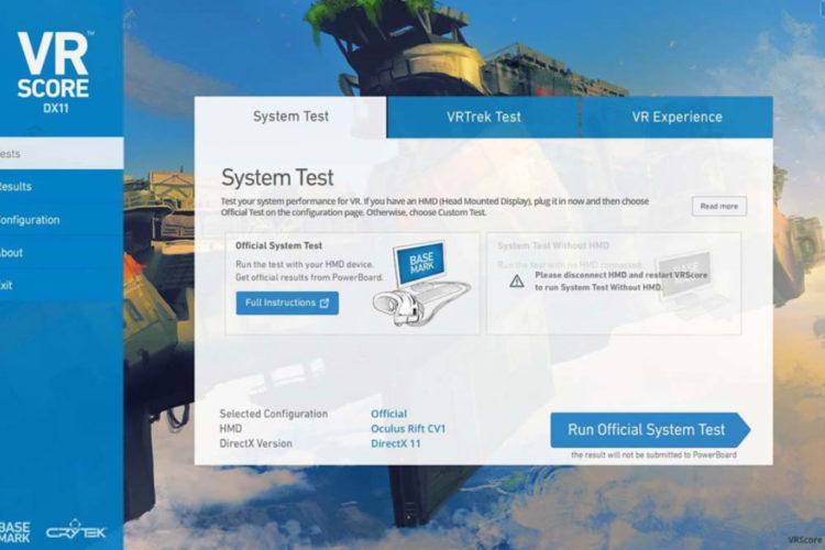 VRScore benchmark VR réalité virtuelle