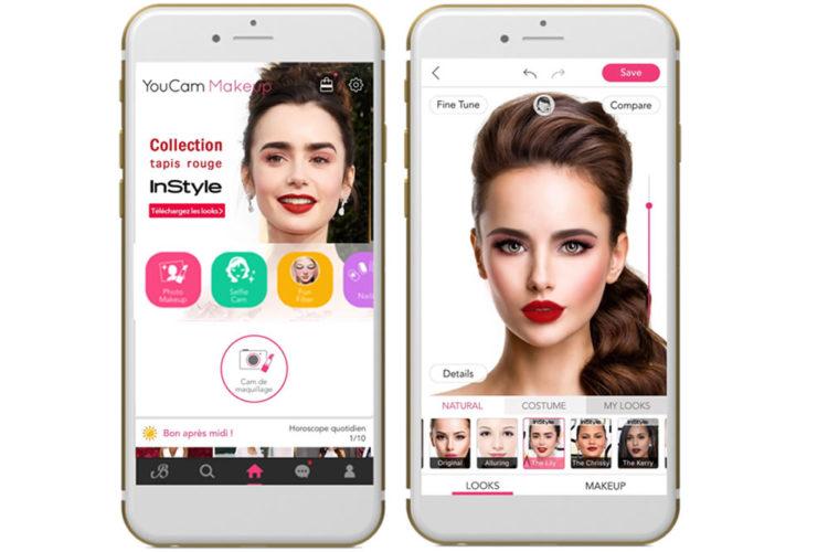 YouCam Makeup appli beauté réalité augmentée tester maquillage parfait selfie smartphone téléphone