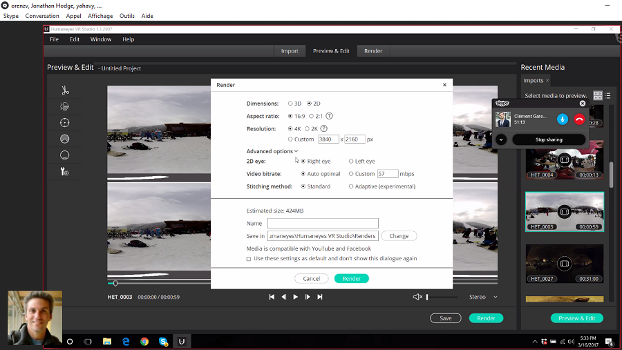 Vuze Camera Appli logiciel Humaneyes