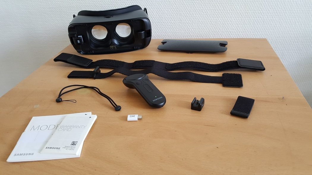 test Gear VR 2017 unboxing Samsung dos back boite