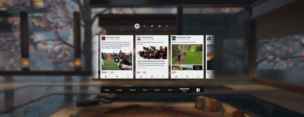 facebook sur gear vr, oculus home, reseau social, integration, onglet, tab
