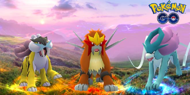 Pokemon Go légendaire Entei-Raikou-Suicune