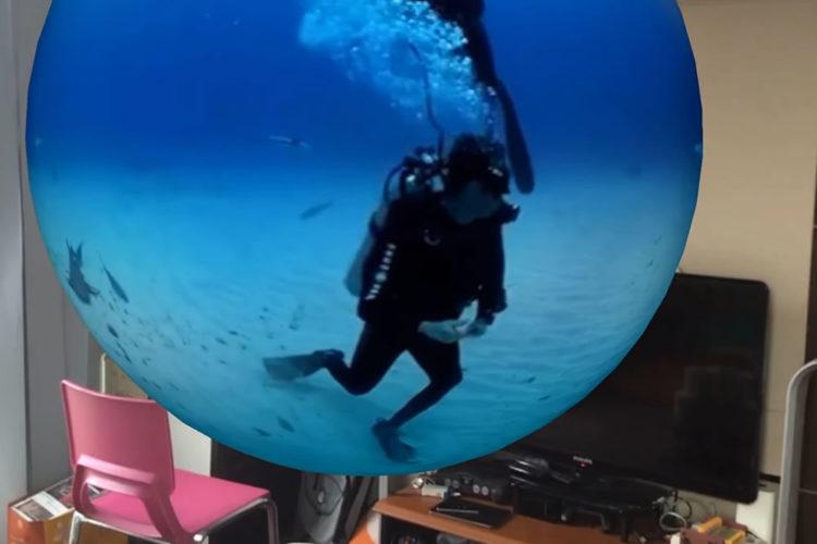 Vidéo 360 degrés application AR réalité augmentée orbe flottant