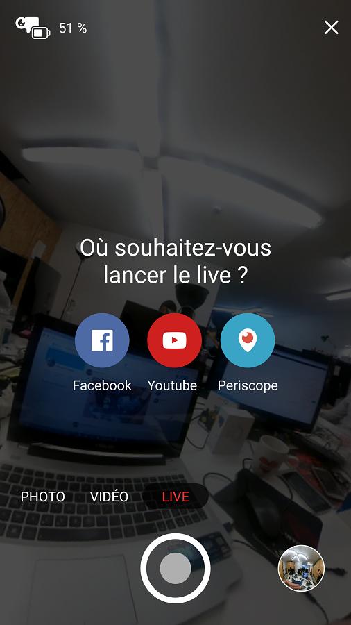 Test Giroptic iO application livestreaming