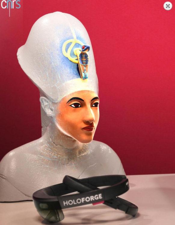 Buste d'Akhenaton en réalité augmentée reconstitution