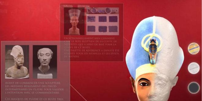 Buste d'Akhenaton reconstitué en AR réalité augmentée