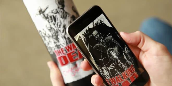 The Walking Dead bouteilles vin réalité augmentée application zombies