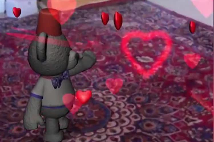 Cartes virtuelles réalité augmentée Saint Valentin 2018