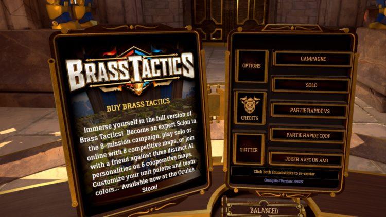 Ecran titres et modes de jeu de Brass Tactics