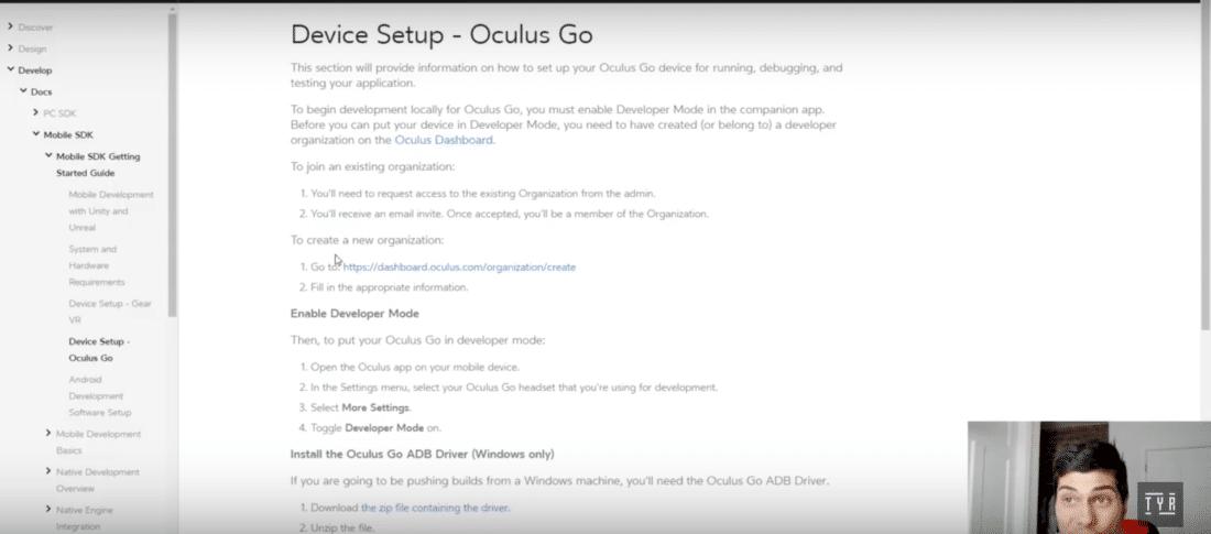 oculus go développeur mode