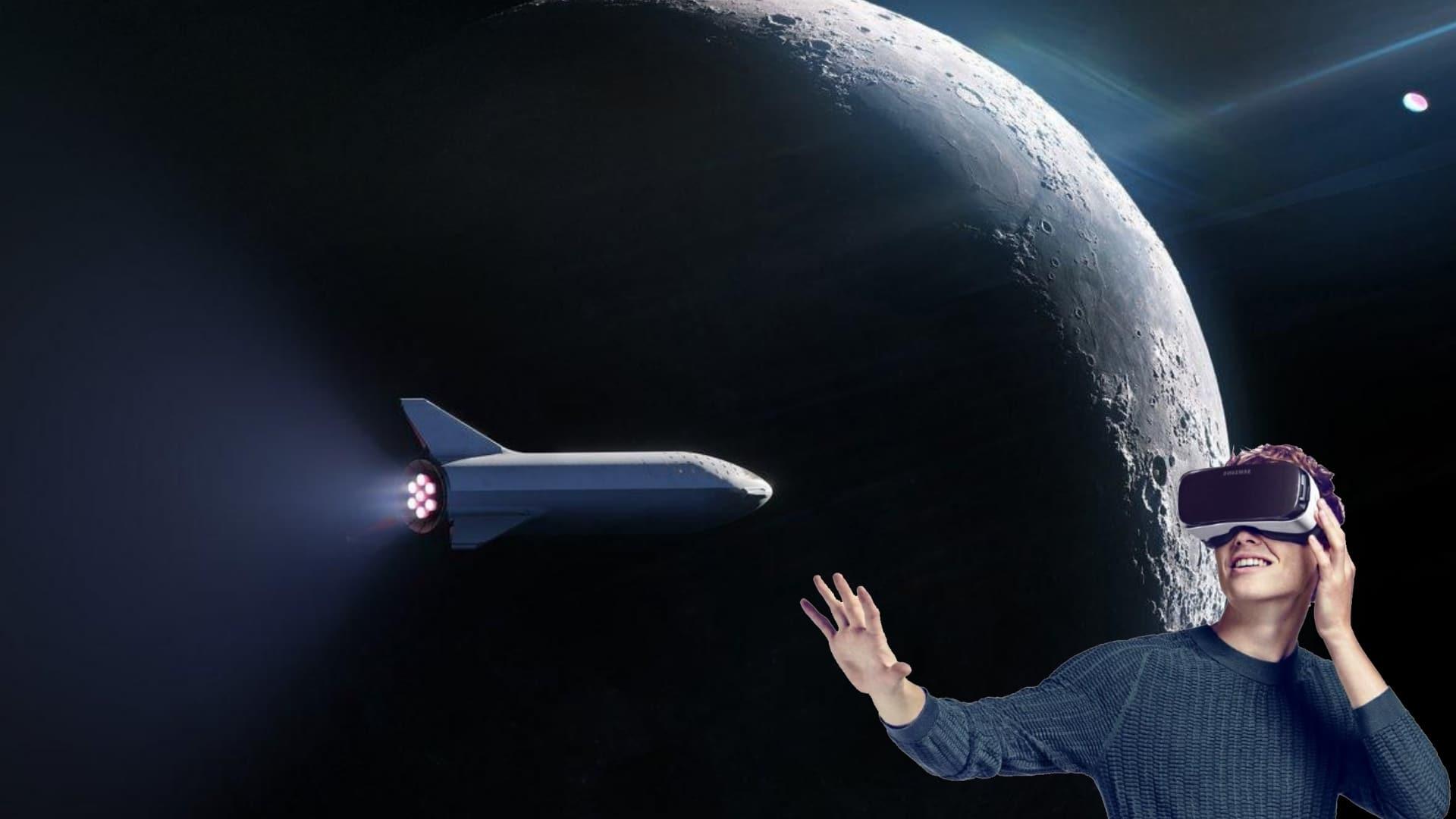 elon musk space x voyage lune vr