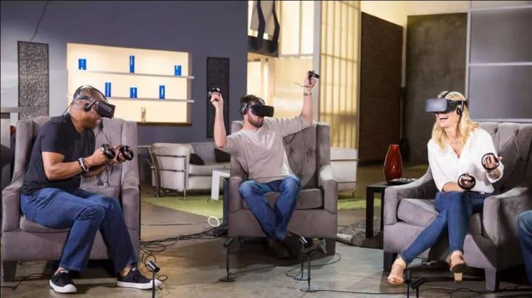 Réalité virtuelle en famille entre amis noël