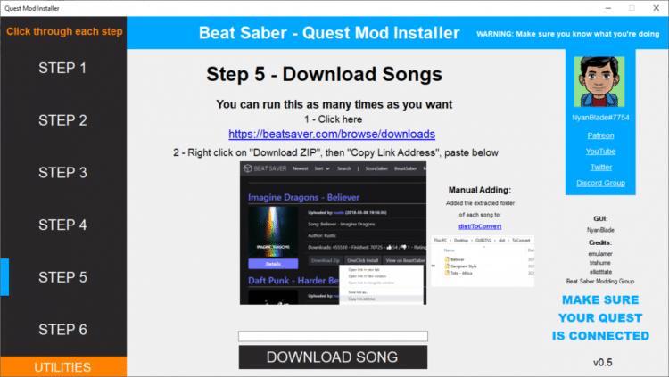 Un outil pour installer vos musiques pour Beat Saber sur l'Oculus Quest