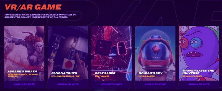 beat saber nominés game awards