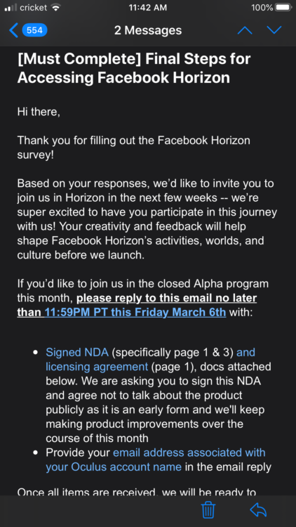 email pour l'inviation au test alpha fermé du Facebook Horizon