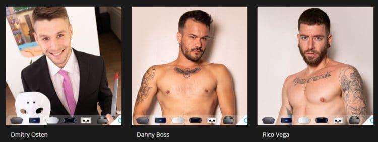 Virtual Real Gay, capture d'écran du site porno vr, page models