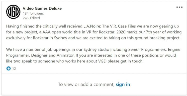 Rockstar jeu VR AAA